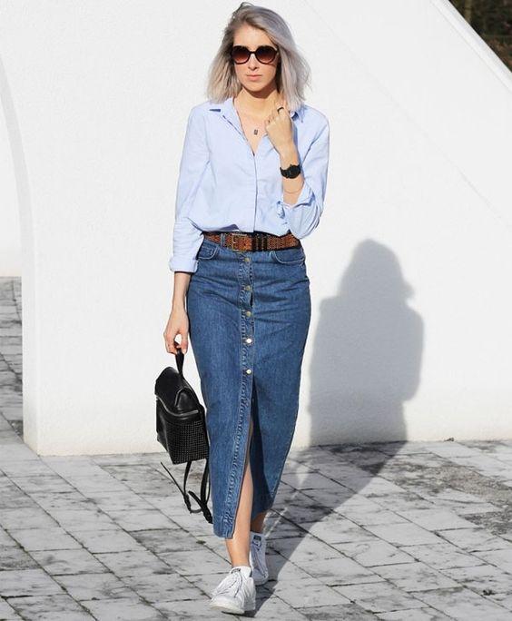 saia jeans com botao
