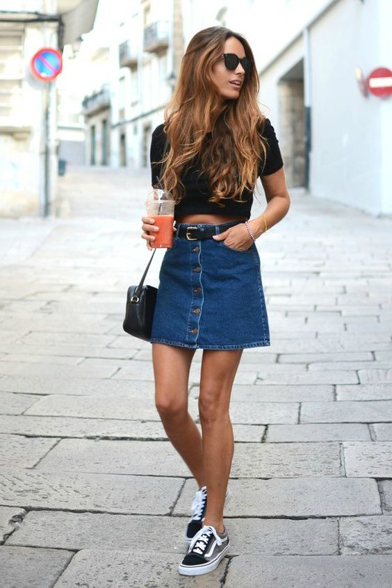 saia jeans curta botão