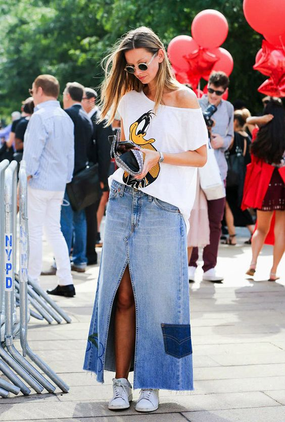 saia jeans longa fenda